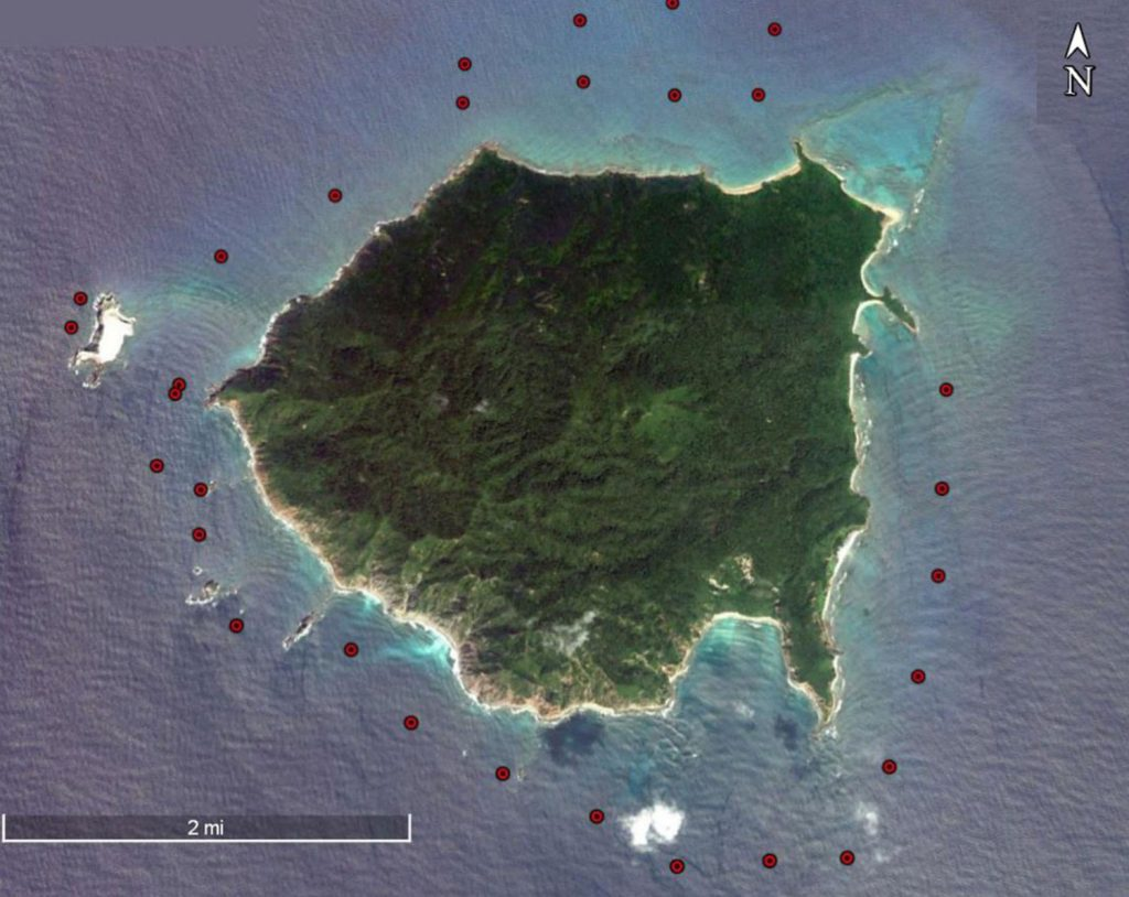 Figure 4. MAP of BRUV deployments around Isla Cleofas.