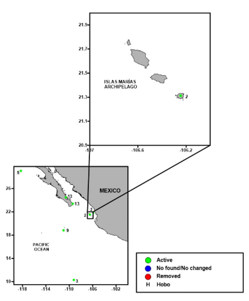 Fig 8. Map of the array of acoustic receivers deployed by Pelagios Kakunjá in the Mexican Pacific. Green spots are active acoustic stations.